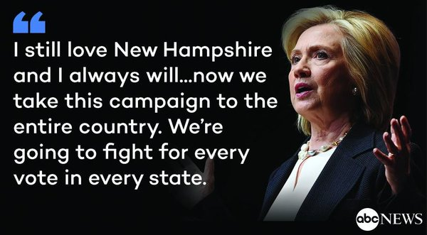@HillaryClinton concedes in NHPrimary