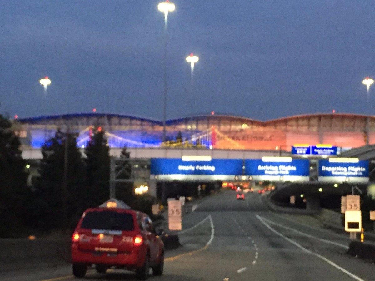 San Francisco International Airport, draped in Orange & Blue!@kdvr @kwgn BroncosCountry sfo