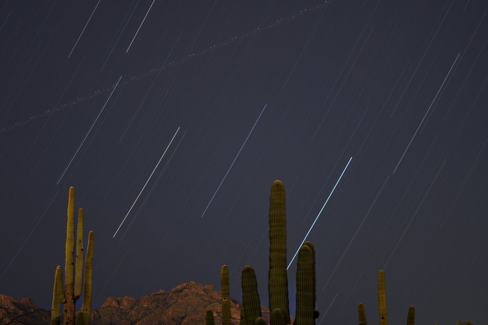 Star trails (and one plane) seen tonight from base of the Superstition Mountains. 30-min exposure 12news azwx