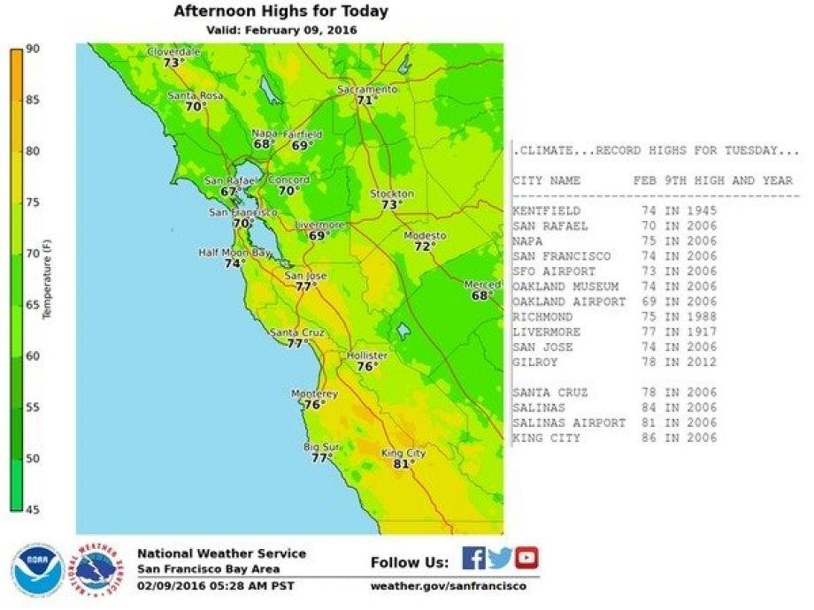 Bay Area basks in record heat as El Niño takes a break