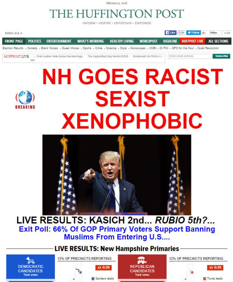 Ouch: News outlets call out N.H. after Donald Trump's win in the NewHampshirePrimary