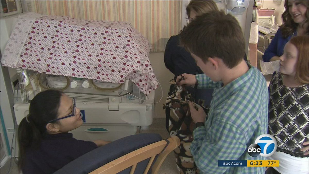 Teen donates blankets to ill and premature babies at Glendale Adventist Medical Center