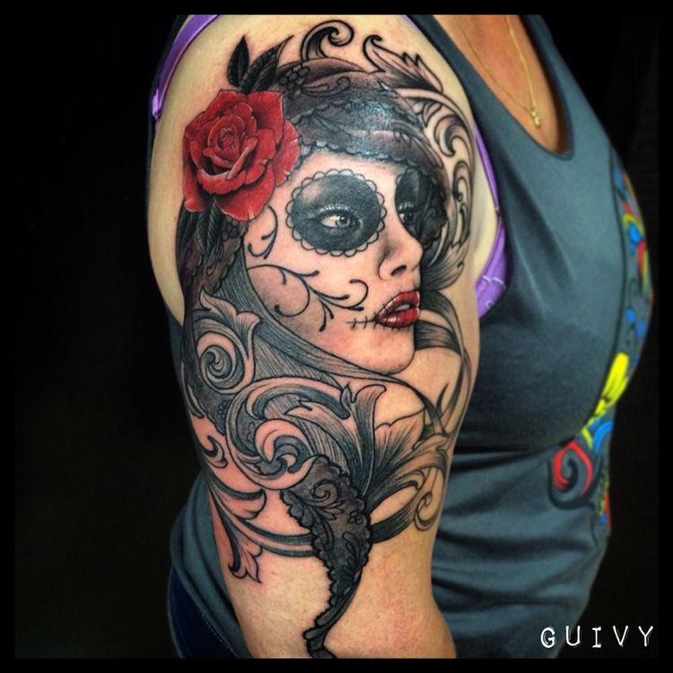 Guivy On Twitter Catrina Santamuerte Tattoo Inkedgirl Baroque Lacetattoo Dentelle Artforsinners Guivy Geneve Tatouage Https T Co Nq16doxnhq