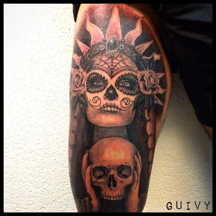 fd8cd424a3f06 #guadalupe #santamuerte #catrina #tattoo #tatouage #artforsinners #guivy  #geneva #switzerland #skulltattoopic.twitter.com/qQZXHNFupE