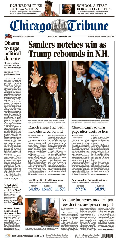 Wednesday's Tribune front page with NHPrimary coverage. Stories at