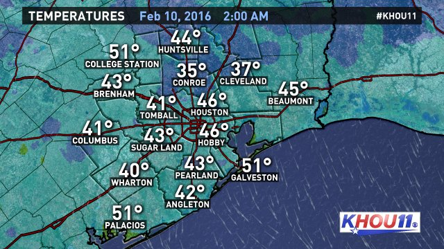 For the night owls and third-shifters: Here's your 2am temperatures around the Houston region. KHOU11