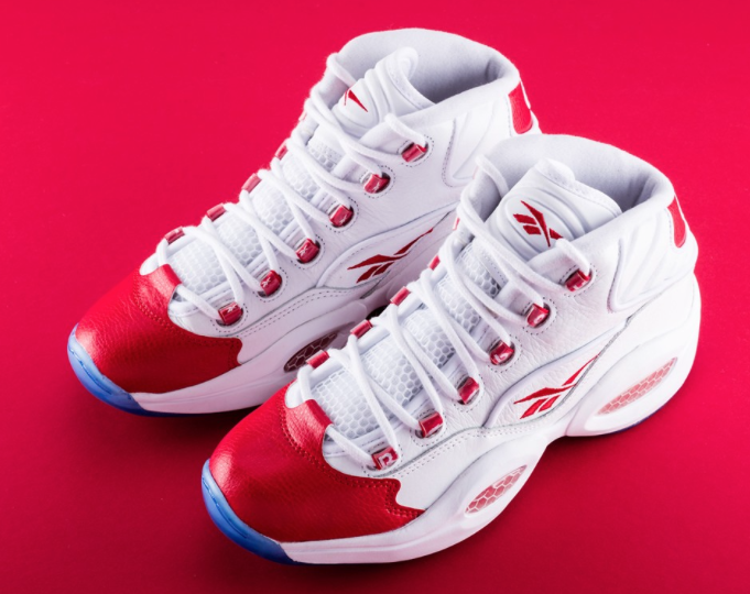 the reebok iverson question mid red toe comes back today for 140 1e71f2e21