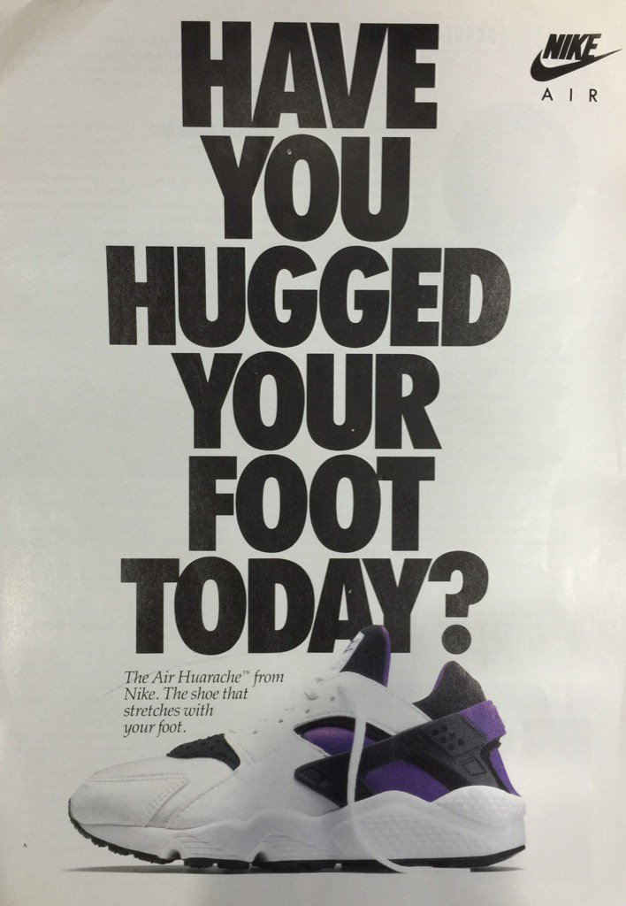 2313645ee80c 25 Years Ago  Ad for the debut of Nike s Air Huarache pic.twitter.com YQcKq8d6Vs