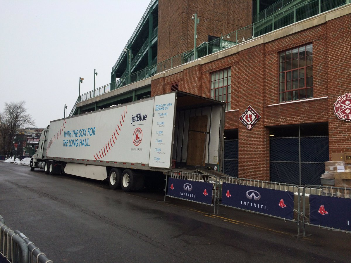 A sure sign that spring will eventually come. It's truck day @fenwaypark wcvb