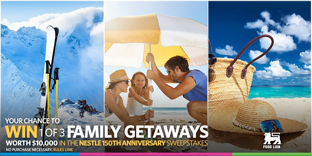 Win 1 of 3 trips worth $10,000 in the Nestle Family Getaway sweeps. No purchase necessary https://t.co/KMFjdjDw2b https://t.co/r3UENzxUX1