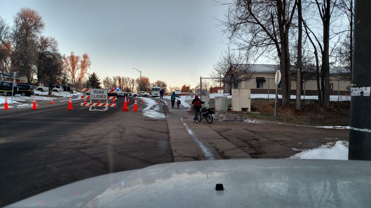 Students make their way to school near double-stabbing crime scene in Ft. Collins.@ch2daybreak @GoodDayCO