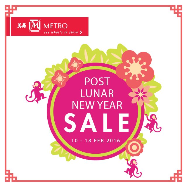Let the LNY celebrations continue in-stores, from now till 18 Feb! More details @ http://bit.ly/MetroPostLNY  T&Cs apply