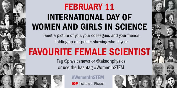 Tweet a photo of you & our poster tomorrow - we want to know your favourite #WomeninSTEM! https://t.co/PdPjk0LnGj https://t.co/j4HlGC1oZq