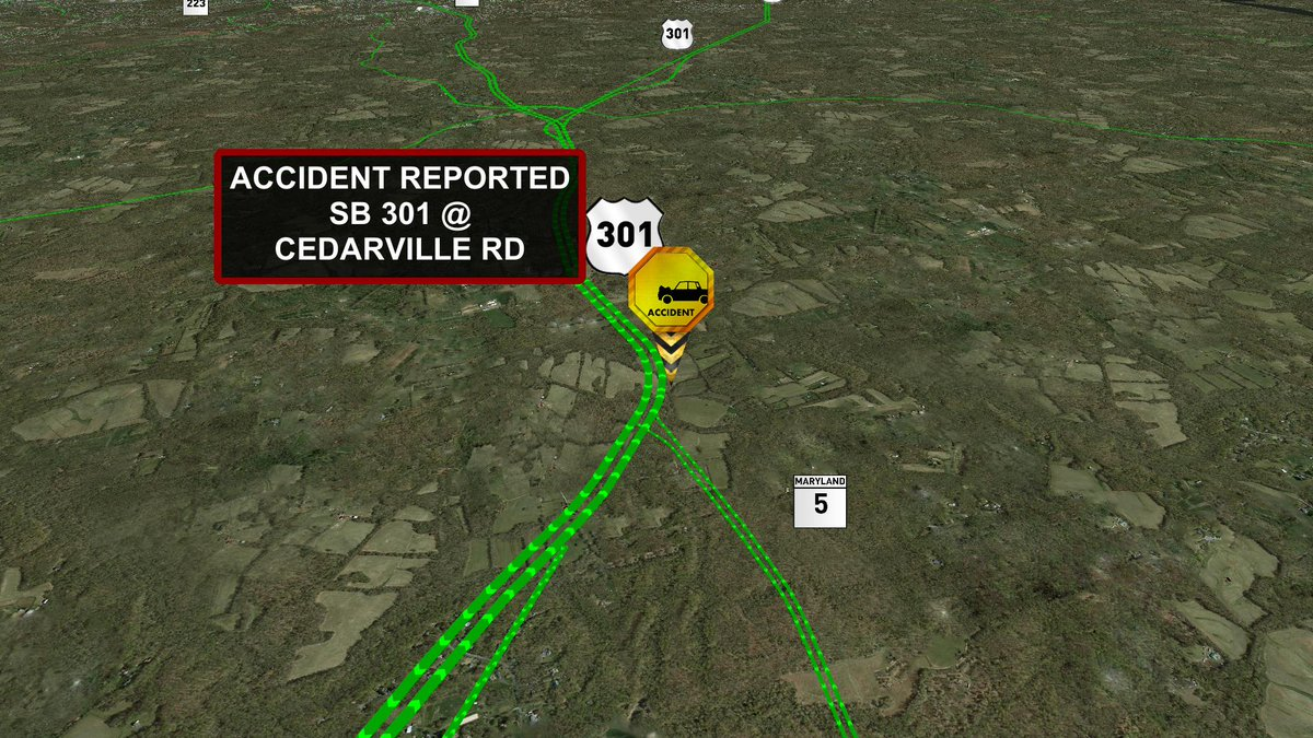 Accident reported SB 301 @ Cedarville Rd. MDTraffic