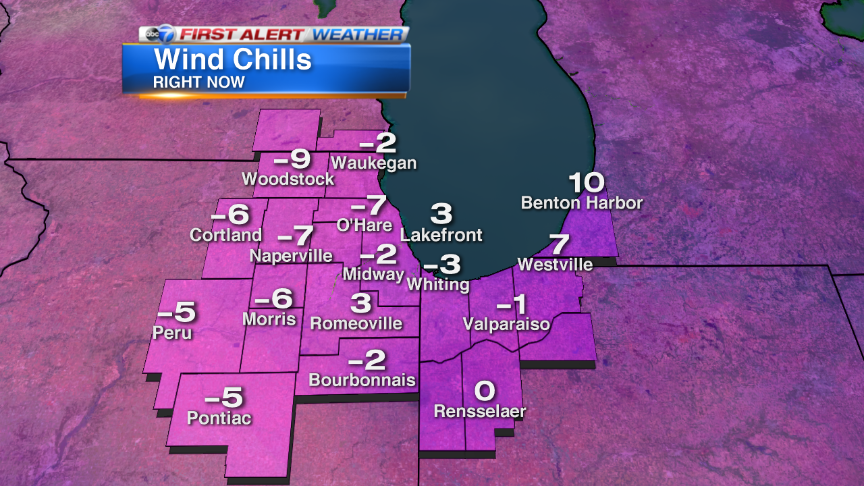 Wind chills around Chicago