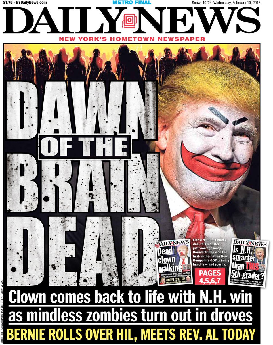 Today's front page: @realDonaldTrump rises from the dead, wins GOP primary in N.H.