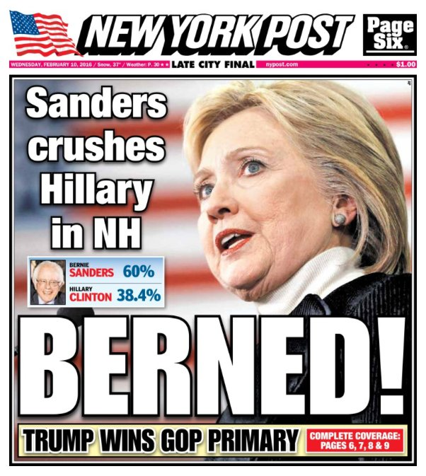 Today's cover: Hillary Clinton was dealt a humiliating defeat in the New Hampshire primary