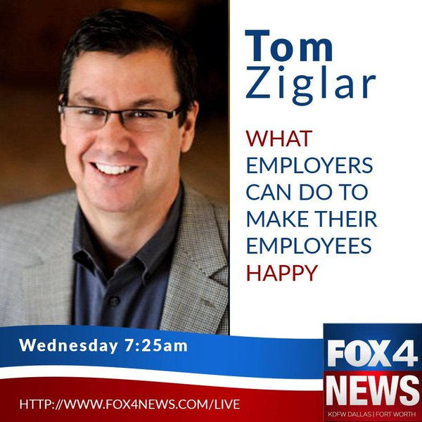 Tom Ziglar will be on Fox4 TV Today Dallas today at 7:25am CST or online>