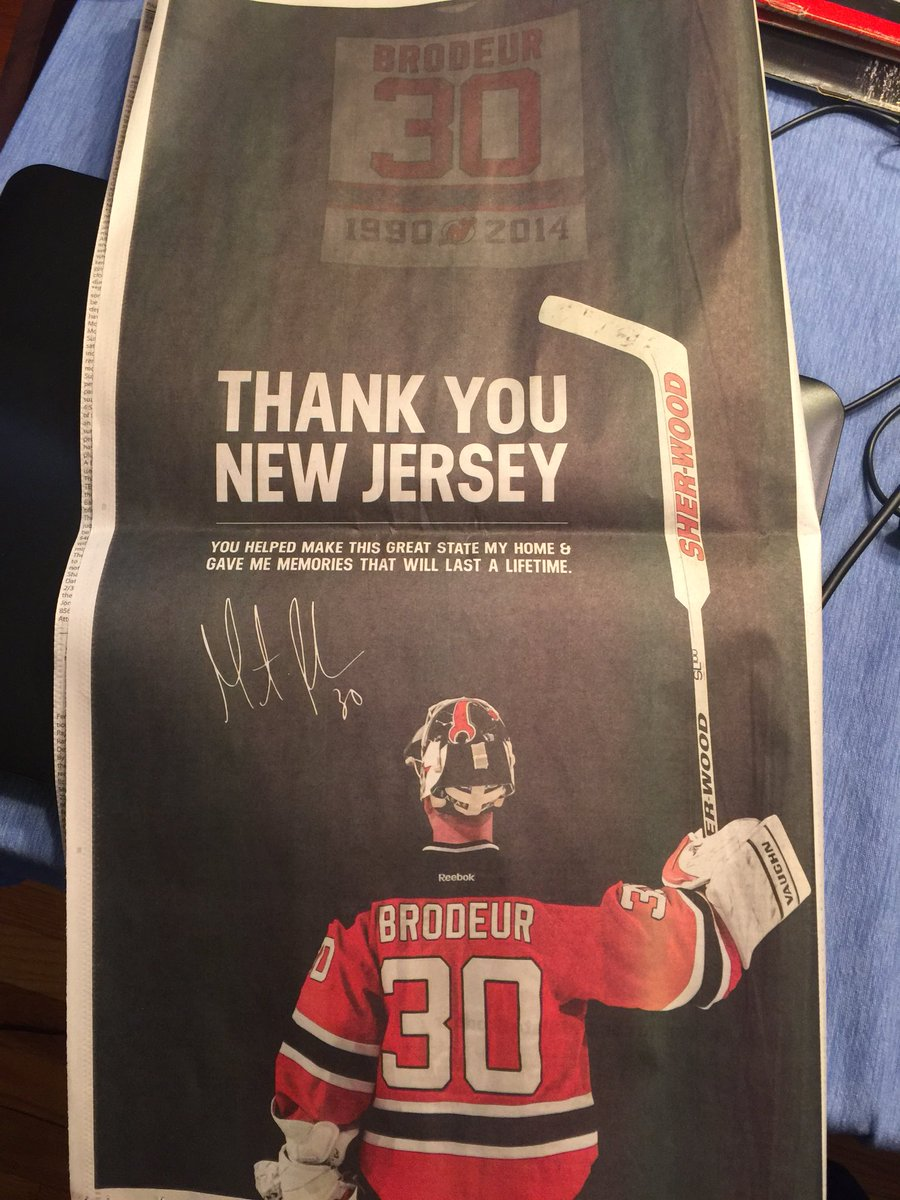 Marty thanks the fans in NJ with this ad in today's Star Ledger.  Thank YOU, @MartinBrodeur #SaluteMB30 https://t.co/nq8NCugJzQ