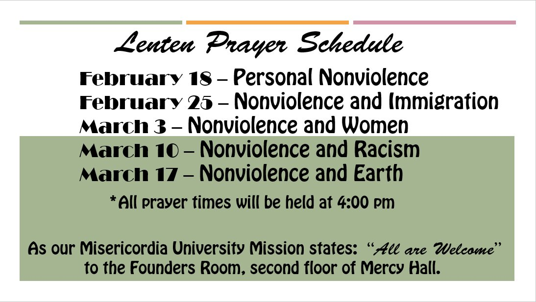 @MisericordiaU invites you to special prayer times for Lent on Thursday's at 4pm @SistersofMercy #MakeMercyReal https://t.co/kHi2frdZlB