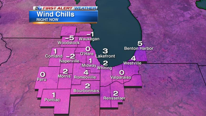 Wind chills around Chicago now