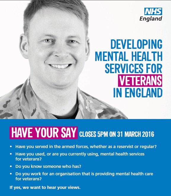 Thumbnail for Have your sayon NHS mental health services for veterans in England