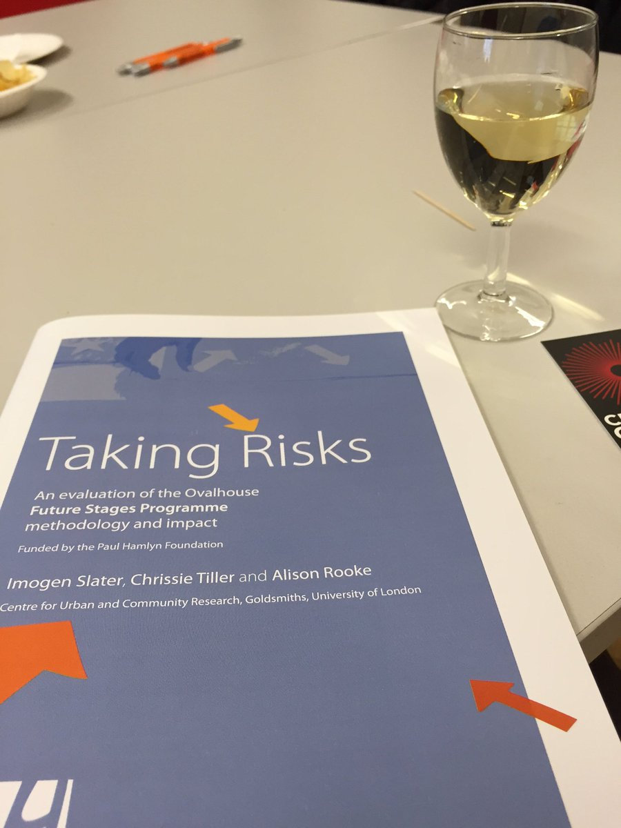 Lovely to be at @Ovalhouse Taking Risks publication launch at @GoldsmithsUoL. Wine to start, how spoilt... https://t.co/jSp4EXLI7r