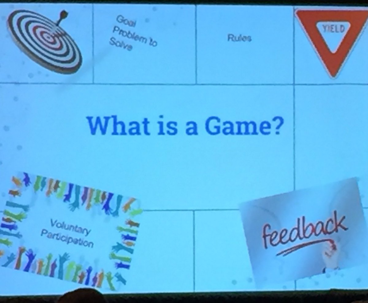 Games: 1.Clear goal 2.Rules https://t.co/RdfMCQdKKi 4.Voluntary Participation-same for learning? @gilmorega #METC16 https://t.co/LVkdDm8gml
