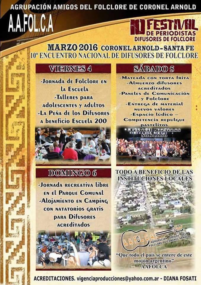 10 Encuentro Nacional de Difusores del Folklore @ Coronel Arnold | Santa Fe | Argentina