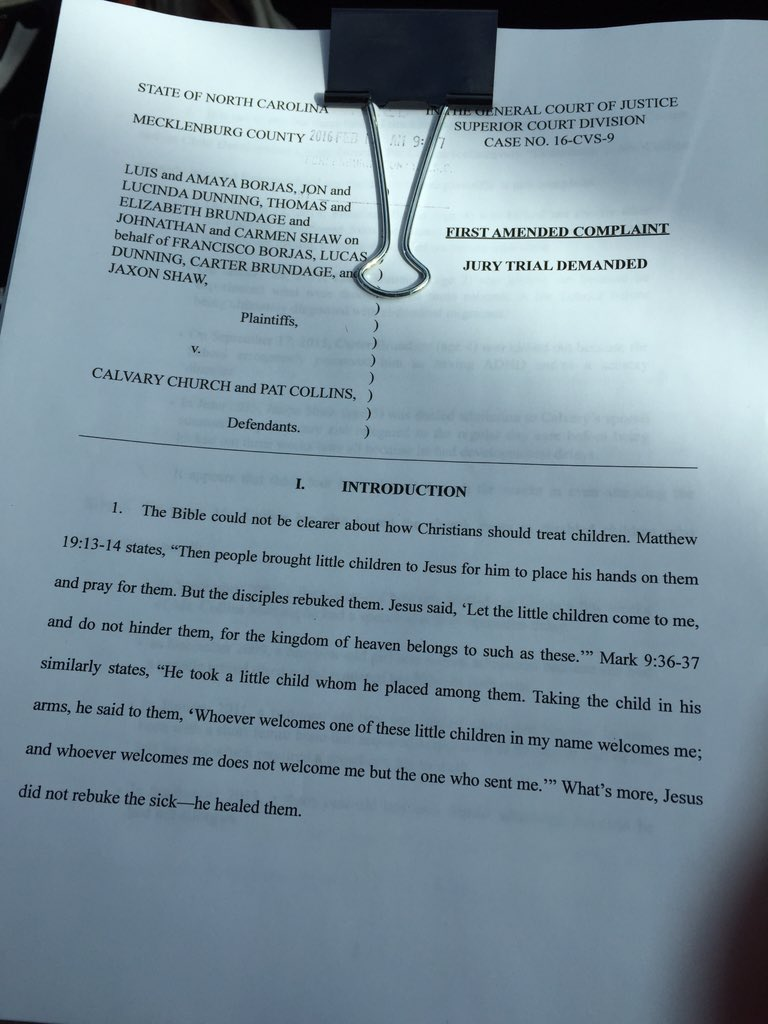 more families filing lawsuit against Calvary church child dev. for expelling kids due to disability. @WCCBCharlotte