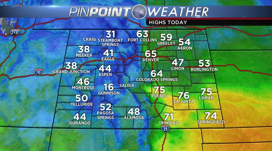 Mid 60s around the city, 40s in the mountains, and mid 70s in SE Colorado!! What a mid-February day!