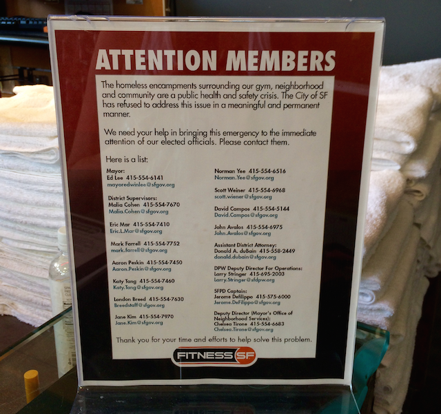 SoMa gym owner fed up with Tent City homeless, prints flyers demanding City action.