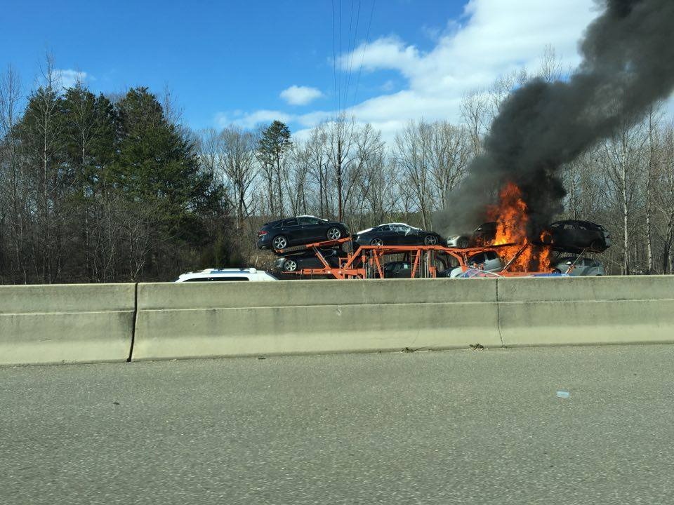 JUST IN: Viewer sent this photo of a car fire on I-85S near exit 10B. @WSOCChopper9 heading to the scene.