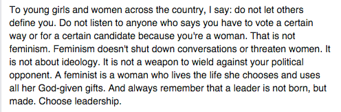 In @CarlyFiorina's Facebook post announcing the end of her campaign, she includes a message for female voters: https://t.co/aU4vhnNdq1