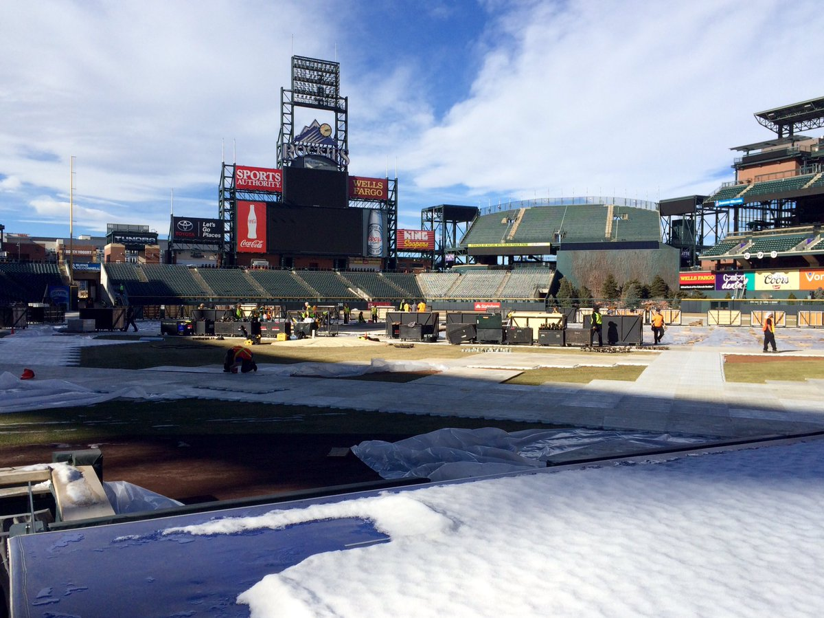 Another view from behind the dugout of Coors Field for StadiumSeries @Avalanche