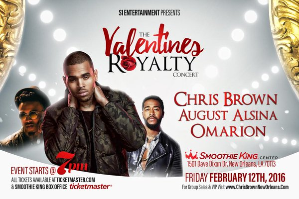 Ladies.. spend your Valentine's Day with @chrisbrown at the concert this Friday featuring @1Omarion & @AugustAlsina! https://t.co/QhK7avMAN4