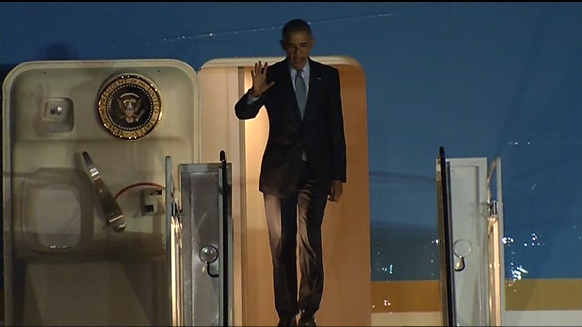 President Obama has arrived at Moffett Field.