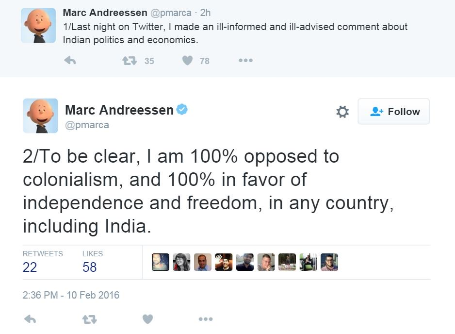 This is how Mark Zuckerberg reacted to Marc Andreessen's comments on India.