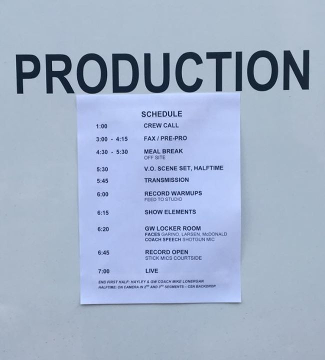 Today's schedule. I think everyone here loves 4:30