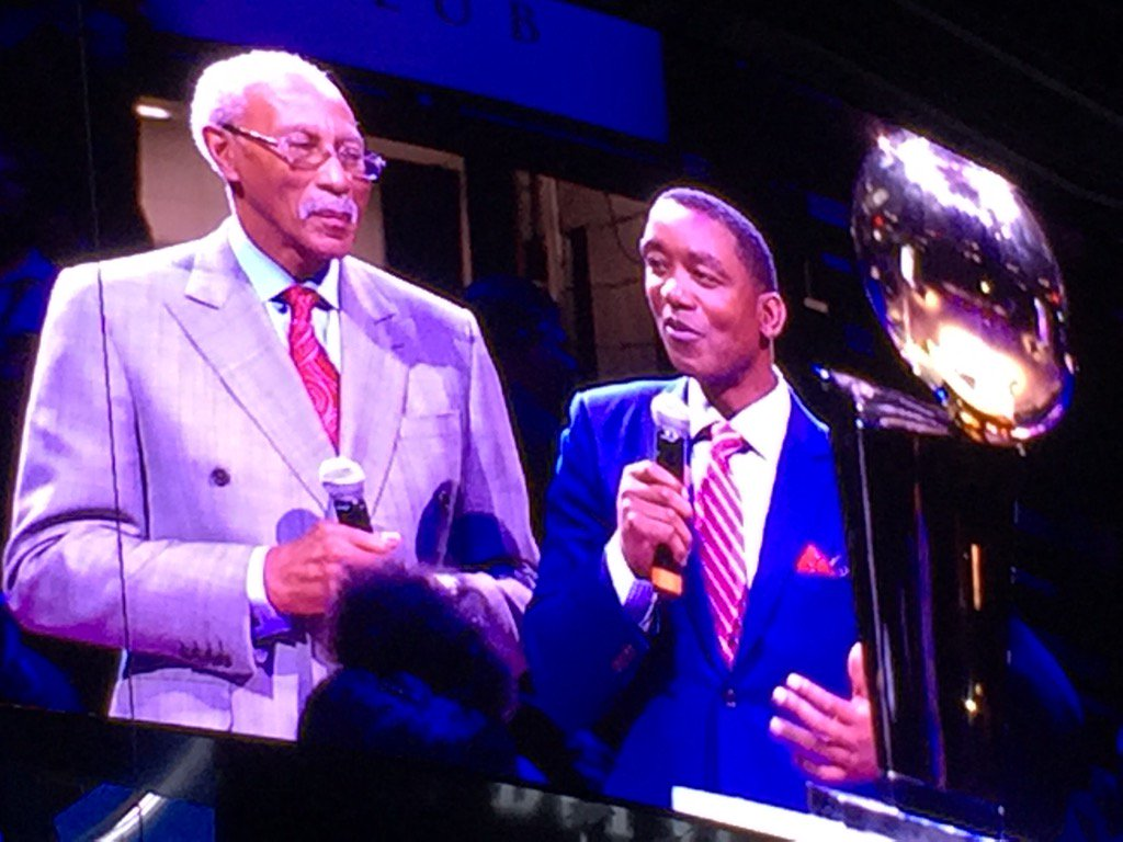 Dave Bing and Isiah Thomas honoring Chauncey Billups at the Palace. Impressive.