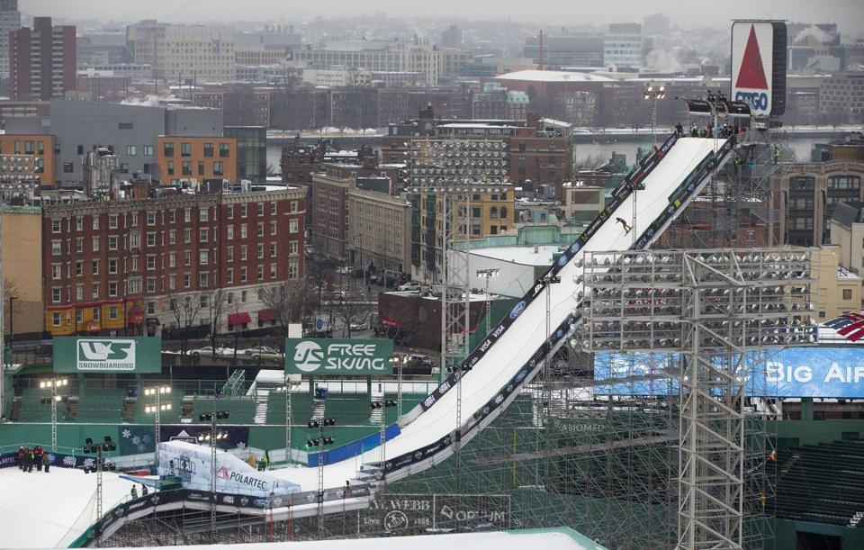 The Big Air ramp at Fenway Park stands 140 feet high and measures 430 feet long