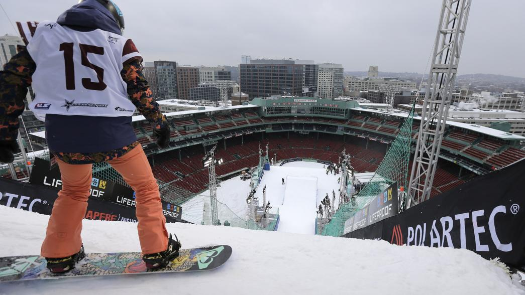 Skiers and snowboarders practiced jumps at Fenway Park for the Big Air competition