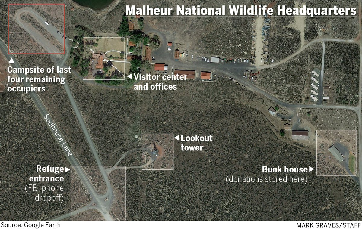 A map of the Wildlife Headquarters including where the last 4 remaining occupiers are camping.  #OregonStandoff https://t.co/RGcmoW4Lfc