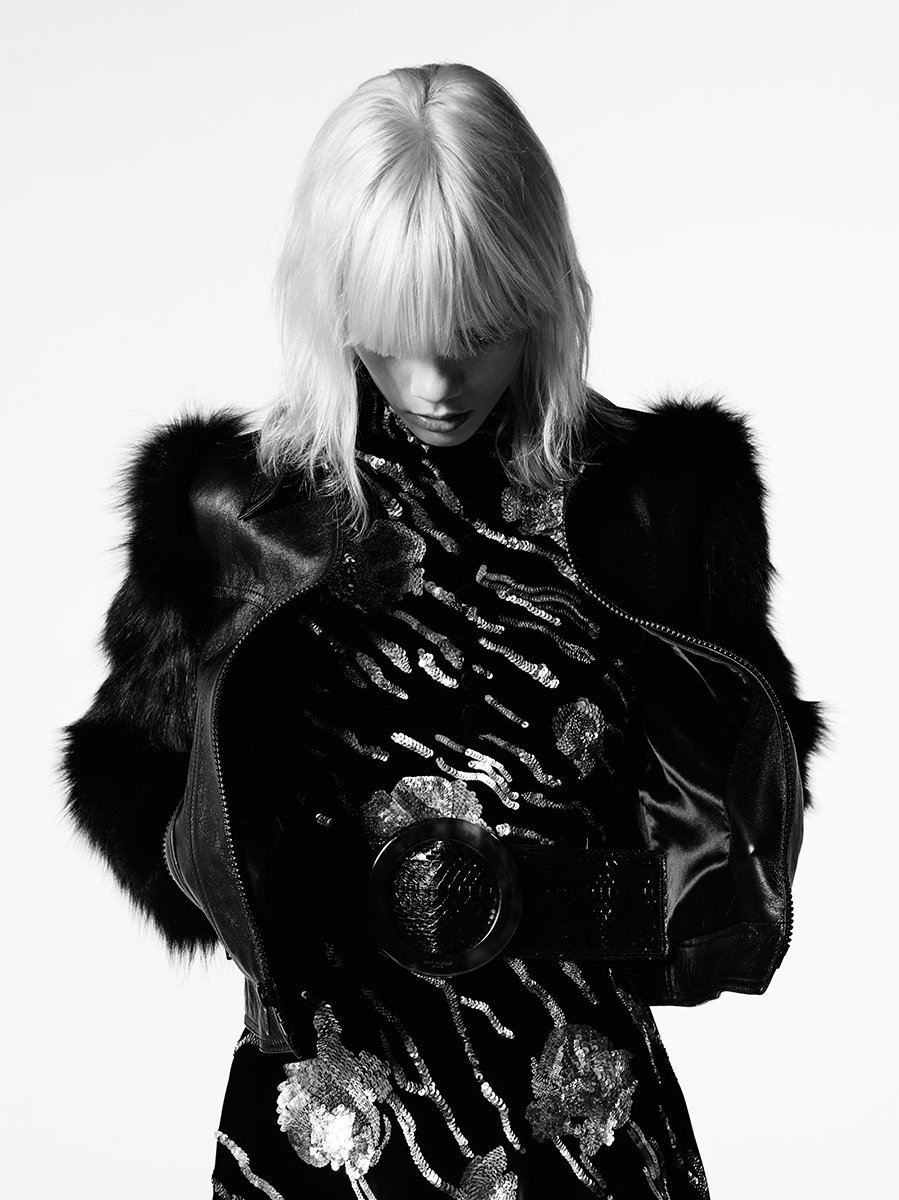 MARJAN STARTED AS AN EXCLUSIVE SAINT LAURENT GIRL AND WEARS A GLAM LEATHER JACKET WITH FOX SLEEVES