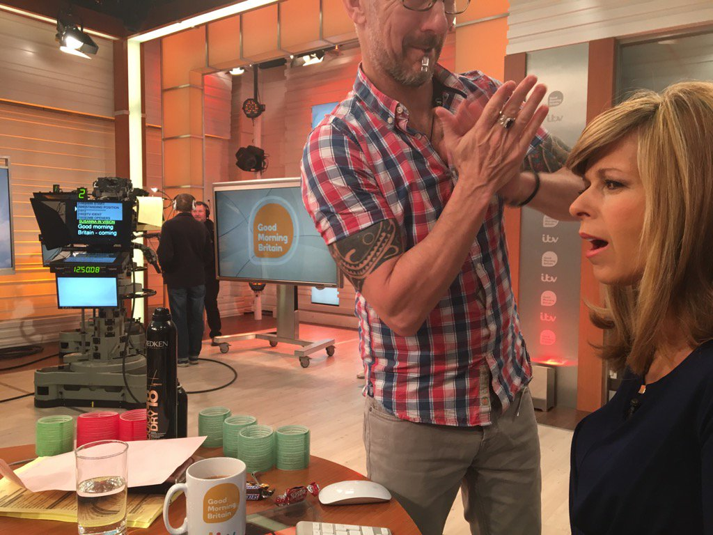 The most important prep for @GMB @kategarraway and her Barnet @paulhaskellhair https://t.co/YizGxhwrNc