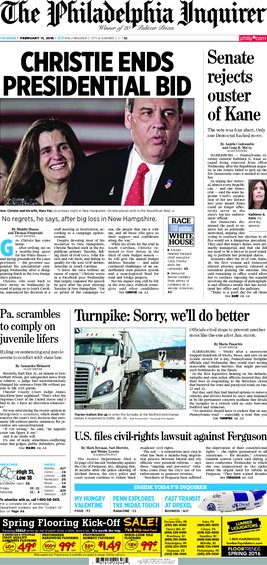 Today's Inquirer, 02/11/16 inqfrontpage