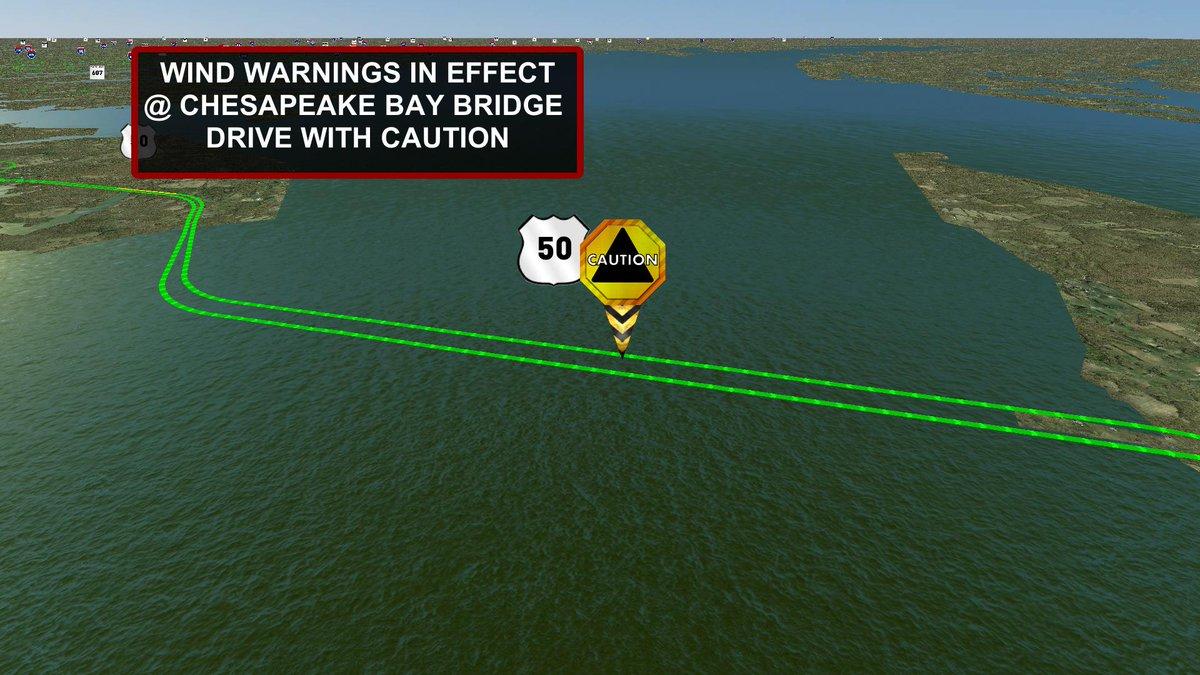 Wind warning in effect @ Chesapeake Bay Bridge. Drive with caution. MDTraffic