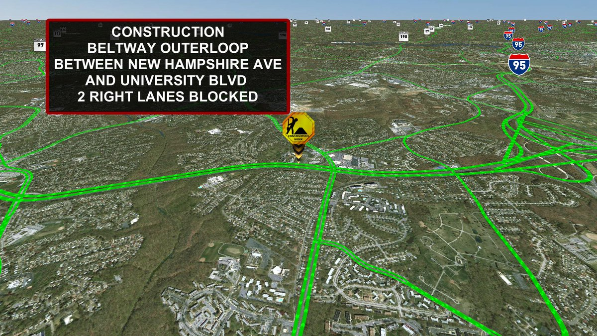 Construction OL Beltway bwtn New Hampshire Ave and University Blvd. 2 RIGHT lanes blocked. MDTraffic