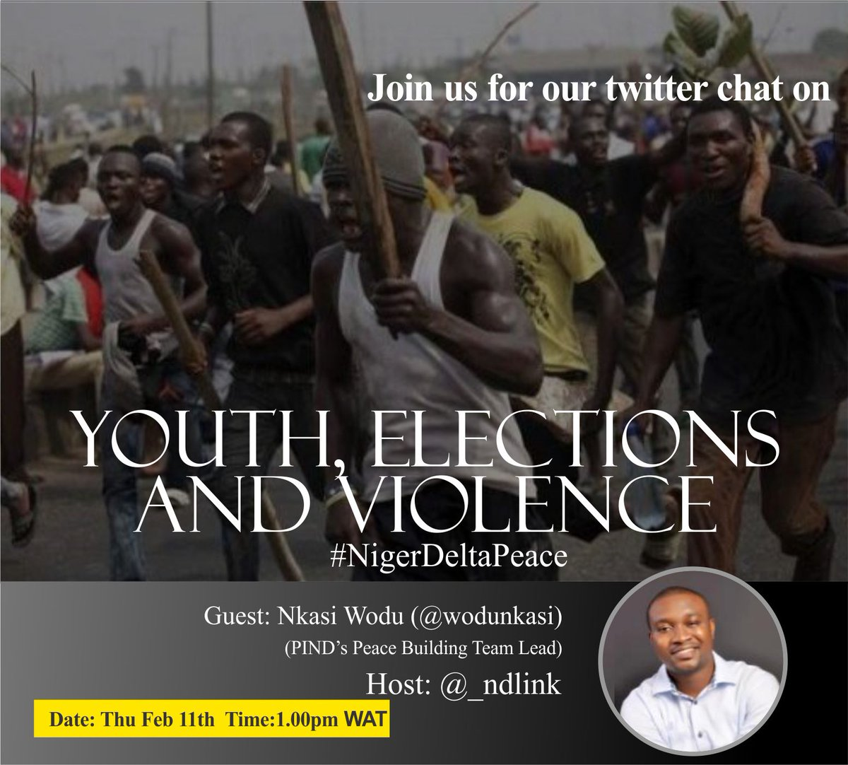 Our twitter chat with @WoduNkasi starts in exactly one hour #NigerDeltaPeace https://t.co/83CmOMSDz7