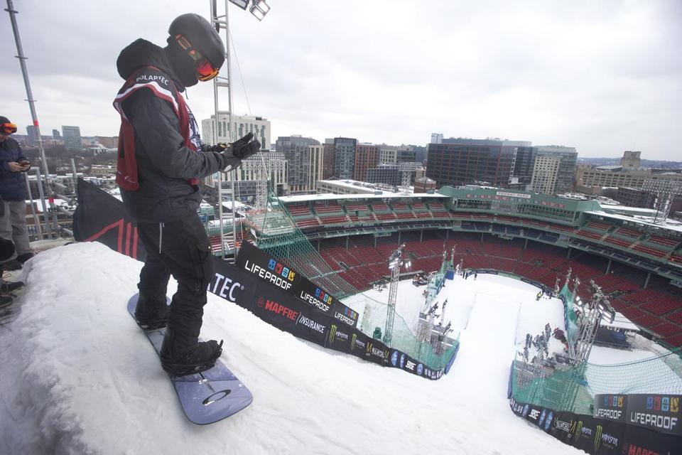 Skiers and snowboarders are ready to have a ball at Big Air at Fenway Park
